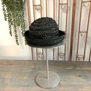 Vintage Black Breton Straw Hat